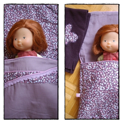 linge de lit pour poup e sac de couchage nid d ange lescouturesdemagda. Black Bedroom Furniture Sets. Home Design Ideas