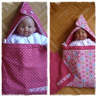 Linge de lit pour poupée, sac de couchage, nid d'ange... (1/3)